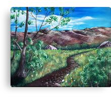 Summer Field and Mountains Canvas Print