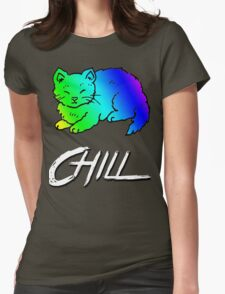Chill Cat Rainbow Womens Fitted T-Shirt