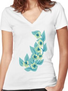 Green Flowers and Leaves Floral Print Women's Fitted V-Neck T-Shirt
