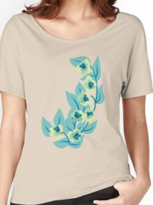 Green Flowers and Leaves Floral Print Women's Relaxed Fit T-Shirt
