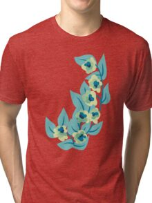 Green Flowers and Leaves Floral Print Tri-blend T-Shirt