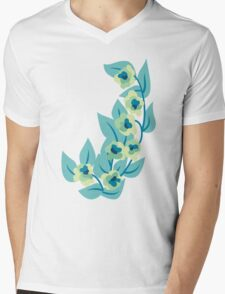 Green Flowers and Leaves Floral Print Mens V-Neck T-Shirt