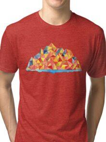 Colorful Geometric Watercolor Mountain Range Tri-blend T-Shirt