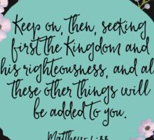 MATTHEW 6:33 (Purple Flowers) Sticker