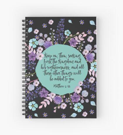 MATTHEW 6:33 (Purple Flowers) Spiral Notebook