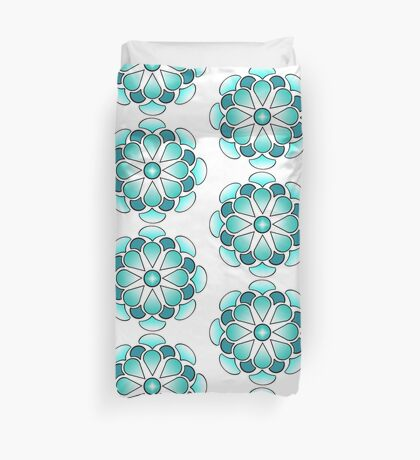 Aqua Flower Duvet Cover