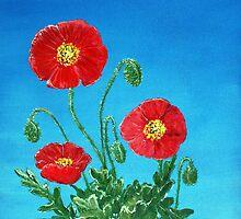 Poppies on Blue by Anastasiya Malakhova