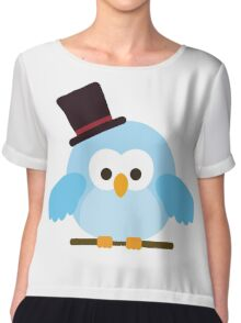 Cute Owl with Hat Chiffon Top