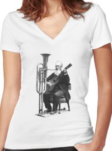 Vintage Music - Guitar & Tuba Women's Fitted V-Neck T-Shirt