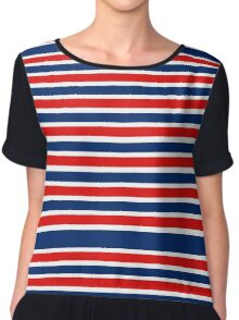 Red White and Blue Striped  Chiffon Top