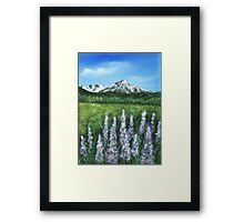 Lupin and Mountain Framed Print
