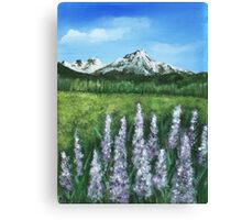 Lupin and Mountain Canvas Print