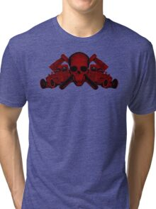 red wrench skull ratrod Tri-blend T-Shirt
