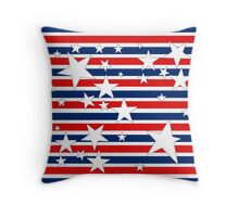 Stars and Stripes in Red White and Blue Throw Pillow