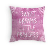 Pastel Pink White Sweet Dreams Little Princess Quote Throw Pillow