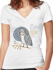 BioBlitz masked owl Women's Fitted V-Neck T-Shirt