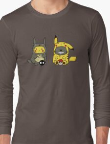 Totoro and Pikachu Onesies  Long Sleeve T-Shirt