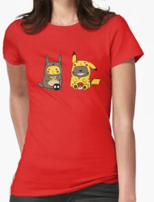 Totoro and Pikachu Onesies  Womens Fitted T-Shirt