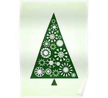 Pine Tree Snowflakes - Green Poster