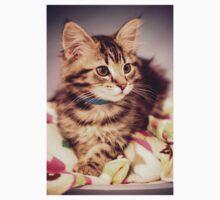 Tabby kitten in vintage colours One Piece - Short Sleeve