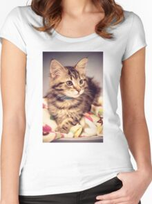 Tabby kitten in vintage colours Women's Fitted Scoop T-Shirt