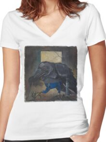 Old Crow Women's Fitted V-Neck T-Shirt