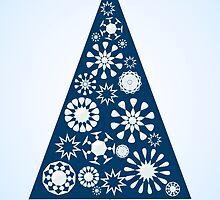 Pine Tree Snowflakes - Blue by Anastasiya Malakhova