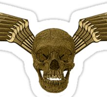 gold and black tool skull wings Sticker