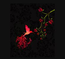 Scarlet Twilight Damask Hummingbird fantasy art Womens Fitted T-Shirt