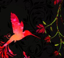 Scarlet Twilight Damask Hummingbird fantasy art Sticker