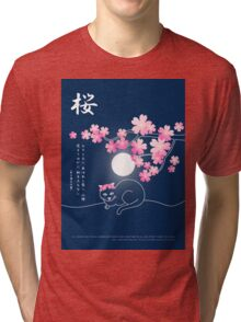 Pretty Cat Pink Japanese Sakura Cherry Blossoms Blue Night Tri-blend T-Shirt