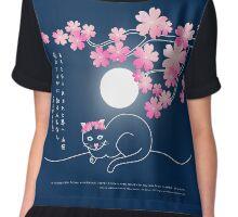 Pretty Cat Pink Japanese Sakura Cherry Blossoms Blue Night Chiffon Top
