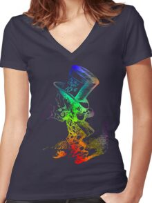 Psychedelic Mad Hatter Trippy Alice Women's Fitted V-Neck T-Shirt