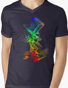 Psychedelic Mad Hatter Trippy Alice Mens V-Neck T-Shirt