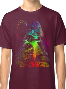 Psychedelic Alice With Colorful Flamingo Classic T-Shirt