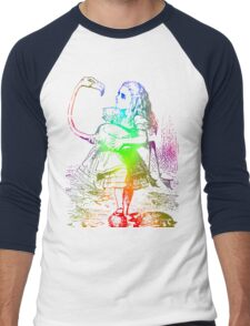 Psychedelic Alice With Colorful Flamingo Men's Baseball ¾ T-Shirt