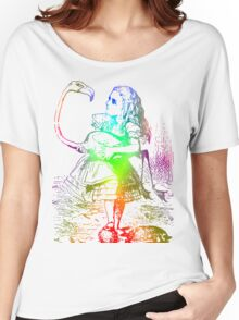 Psychedelic Alice With Colorful Flamingo Women's Relaxed Fit T-Shirt