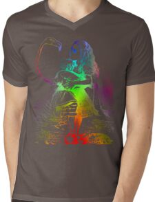 Psychedelic Alice With Colorful Flamingo Mens V-Neck T-Shirt