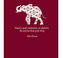 Pink Patterned Elephant by Emma  Mazzuca