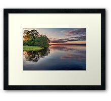 Lake Sunrise - the summer sun rises over a lake in southern Sweden. Framed Print