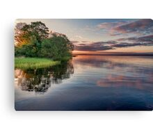 Lake Sunrise - the summer sun rises over a lake in southern Sweden. Canvas Print