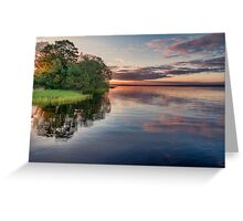 Lake Sunrise - the summer sun rises over a lake in southern Sweden. Greeting Card