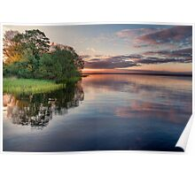 Lake Sunrise - the summer sun rises over a lake in southern Sweden. Poster