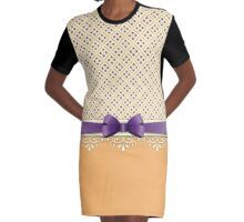 Purple Bow Orange Lotus Yellow Flourish Diamond Pattern Graphic T-Shirt Dress