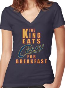 The King Eats Curry - Navy Women's Fitted V-Neck T-Shirt