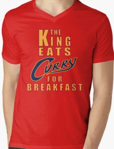 The King Eats Curry - Navy Mens V-Neck T-Shirt