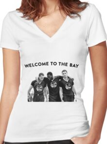WELCOME TO THE BAY Women's Fitted V-Neck T-Shirt