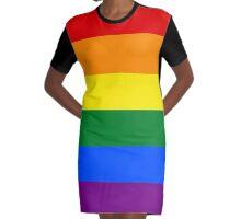 Gay Pride Flag Graphic T-Shirt Dress