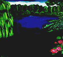 A forest lake in the twilight by artbyengels