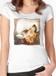 abstract howling wolf Women's Fitted Scoop T-Shirt